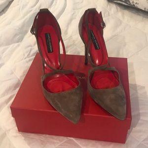 Charles Jordan of Paris gray leather suede heels